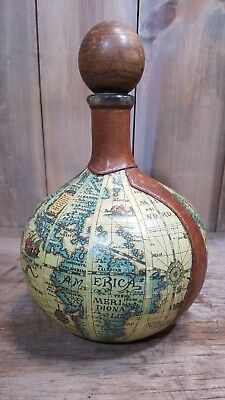 Vintage Decanter, Old World Globe Map, Leather & Paper Covered Bottle Italy BOHO