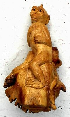 ENDEARING MONKEY CARVED from a TREE LIMB - DETAILED and FUNNY!!