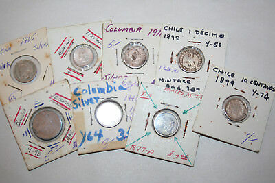 8 Coins Mixed Lot SILVER CENTAVOS CHILE ARGENTINA COLUMBIA BOLIVIA  SO AMERICA