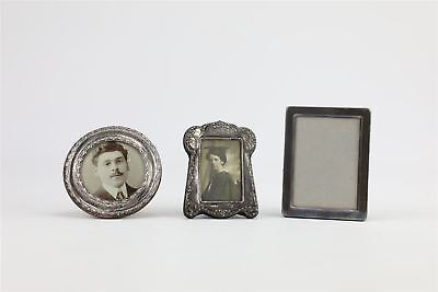 Lot of 3 x vintage / antique .925 fully hallmarked silver photoframes 207g
