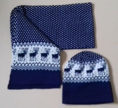 Reindeer Pattern Navy Scarf and Hat Set (George, One Size - Adult)