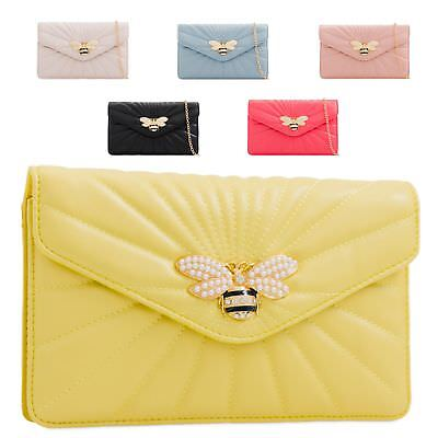 Ladies Quilted Clutch Bag Insect Charm Evening Bag Pearl Bee Handbag KL2245