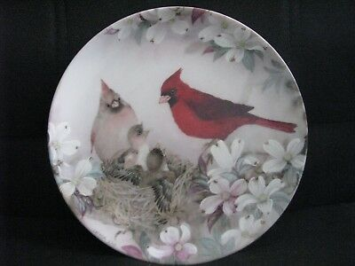 W S George Plate Lena Liu Morning Serenade Nature's Poetry Series Cardinals Bird
