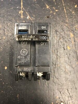 Used General Electric THQL21100 2 pole 100 amp 120 volt Circuit Breaker GE 1048