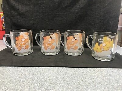 Vintage 1984 Care Bear Set of 4 Glass Cups American Greetings - Cute!