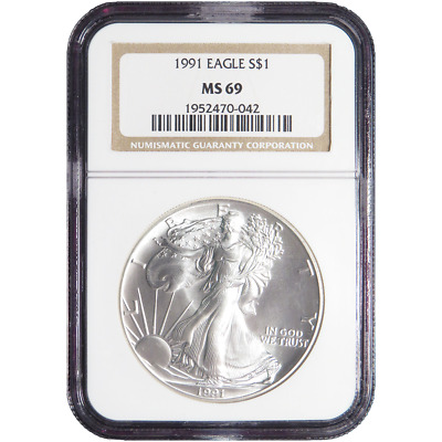 1991 $1 American Silver Eagle NGC MS69 Brown Label
