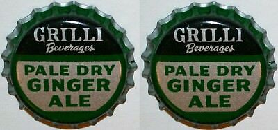 Soda pop bottle caps GRILLI GINGER ALE Lot of 2 cork lined unused new old stock