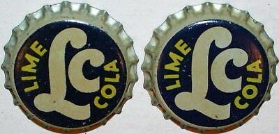 Soda pop bottle caps LC LIME COLA Lot of 2 cork lined unused and new old stock