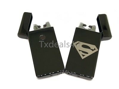Superman Dual Arc Electric USB Lighter Rechargeable Flameless Windproof Plasma