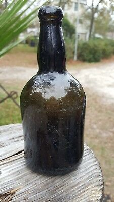colonial free blown black glass ale bottle