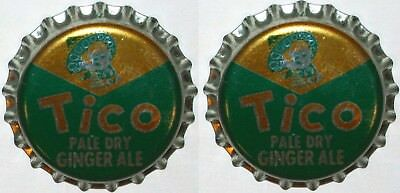 Soda pop bottle caps TICO GINGER ALE Lot of 2 cork lined unused new old stock