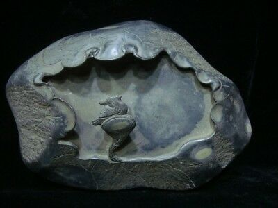 """Chinese Antique """"Duan"""" Ink Stone Hand Carved Lotus InkSlab Marked TianWen"""