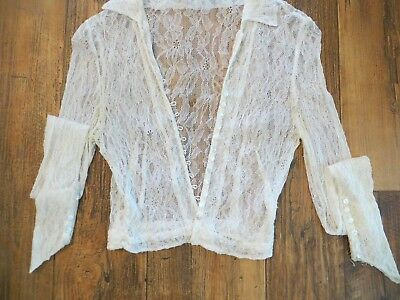 Vintage 1950's Lace Short Crop Jacket For Study Or Craft