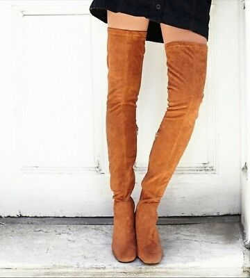 ea5975d6bb9 Jeffrey Campbell Cienega Thigh High Over The Knee Tan Suede Tall Boots 8.5  New