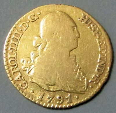 1791 Mf Gold Spain Escudo Charles Iv Coin  Madrid