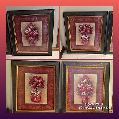 Home Interiors Apples & Roses Framed Picture Set Of 2, Fruit Decor'