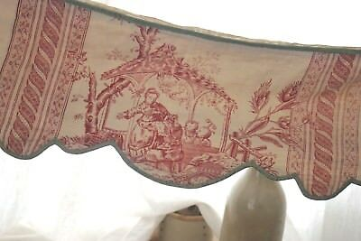 Antique French Chinoiserie Toile Bed valance lit  18th century c1760