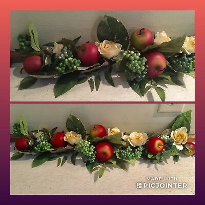 """Home Interiors 24"""" Apples & Roses Swag, Fruit Floral Decor'"""