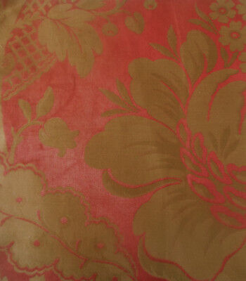 Antique 19thc French Floral Silk Brocade Fabric Fragment #3~  Red Gold