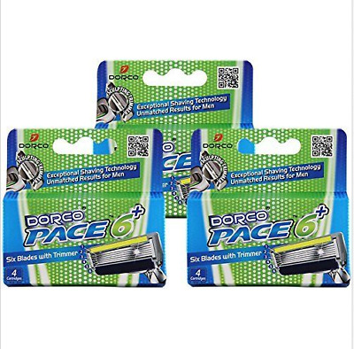 Dorco Pace 6 Plus Six Blade Razor System with Trimmer - 12 Cartridges No Handle