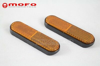 2x Motorcycle Amber Front Fork Leg Reflective Reflector Universal For Boat Truck