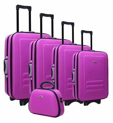Delegate 5 Suitcase Set Luggage Trolley Cabin Travel Wheelie Bag TSA Lock Purple