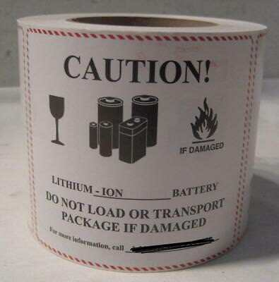 "1 roll - 500 Caution LI-ION Battery Handling Warning Labels 4.5"" by 5""    FS"