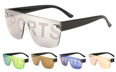 Wholesale 12 Pair Rimless One Piece Sunglasses with Color Mirror Lens - Assorted