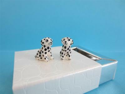 New Dollhouse Super Mini 2 Cute Dalmatian Baby Dog Figurine, So Cute Comes W/box