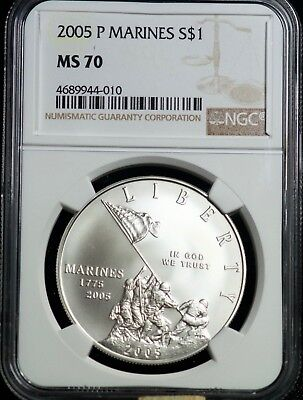 2005 P Marines Silver One Dollar NGC MS 70 S$1 Commemorative