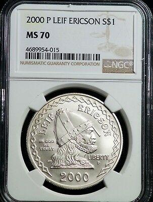 2000 P Leif Ericson Silver One Dollar NGC MS 70 S$1 Commemorative
