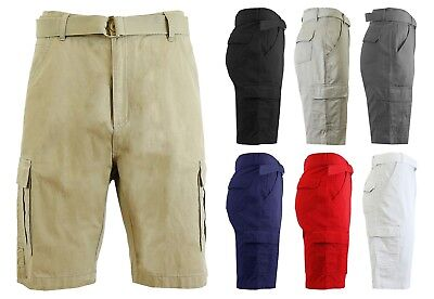 Men's Belted Cargo Shorts Golf Lounge Gym Sport Outdoor Colors Sizes 30-42 NEW