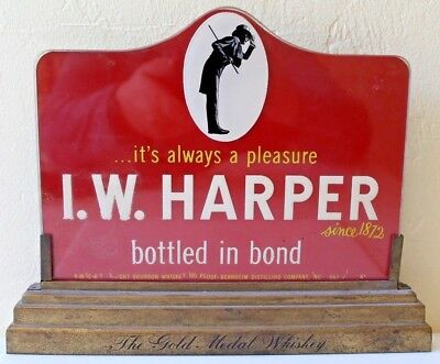 Vintage I.w. Harper Gold Metal Whiskey Advertising Display Sign Kentucky Bourbon