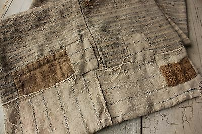 Antique French 1700s olive sack linen stripe wool old  textile TIMEWORN patched