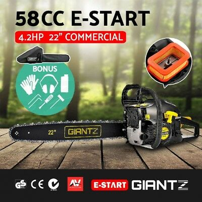 Giantz Commercial Petrol Chainsaw 22 Inch Bar E Start Saw Tree Pruning Tool 58CC