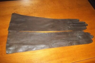 Vintage Leather Gloves~ Brown Kid Leather Long Ladies Gloves~ Size Small