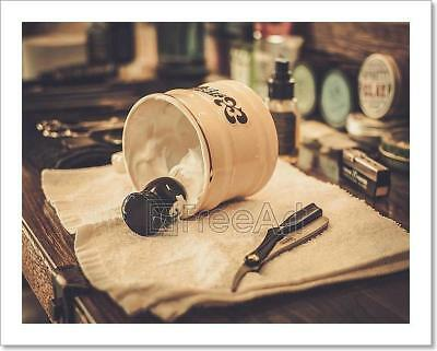 Shaving Accessories In Barber Shop Art Print Home Decor Wall Art Poster - C