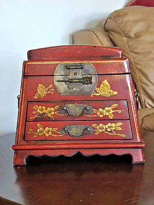 Beautiful Estate Antique Chinese Lacquered Rosewood, Leather Dresser/jewelry Box