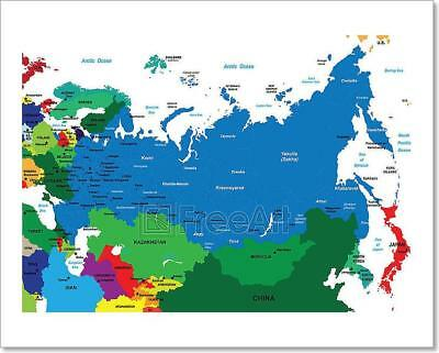 Political Map Of Russia Art Print Home Decor Wall Art Poster - C