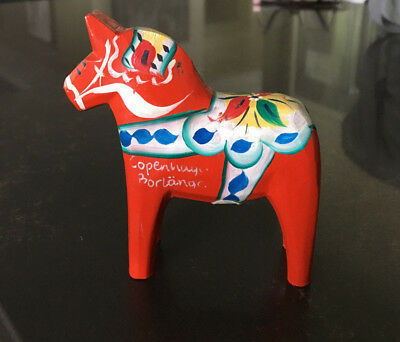 "Vintage Traditional Swedish Red Dala Horse Wood Figurine - 4"" High"
