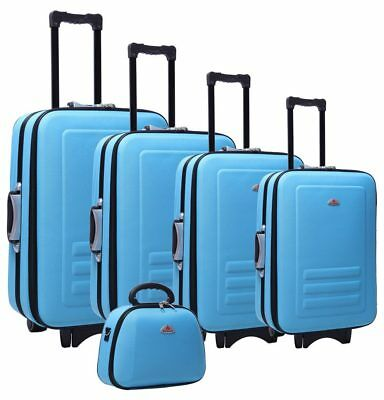 Delegate 5 Suitcase Set Luggage Trolley Cabin Travel Wheelie Bag TSA Lock Blue