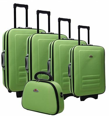 Delegate 5 Suitcase Set Luggage Trolley Cabin Travel Wheelie Bag TSA Lock Lime