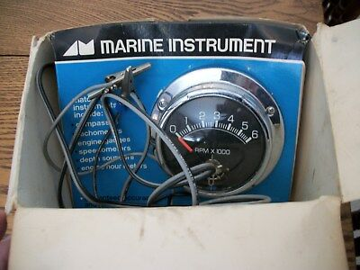 VTG AQUA METER CHROME ACCESSORY MARINE TACHOMETER-6000RPM-NOS in BOX