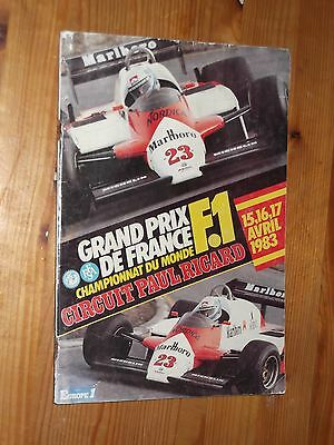 1983 Programme French Grand Prix F1 Circuit Paul Ricard Prost Piquet Cheever