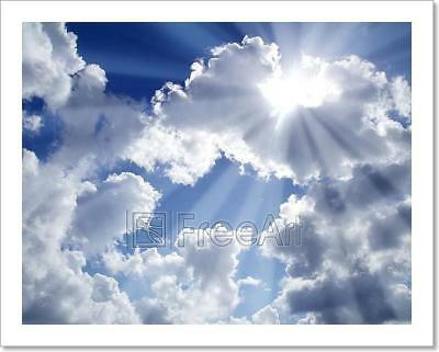 Beams Of Light Sky Blue With White Art Print Home Decor Wall Art Poster - C