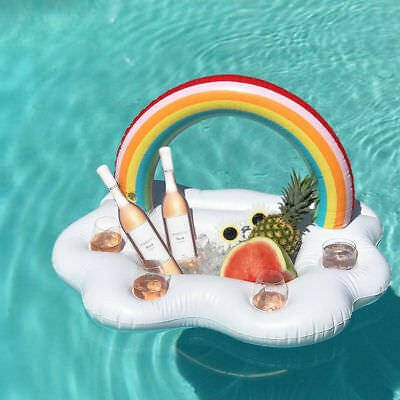 Inflatable Rainbow Drinks Holder Pool Float Lilo Lounger Party Barge UK Stock.