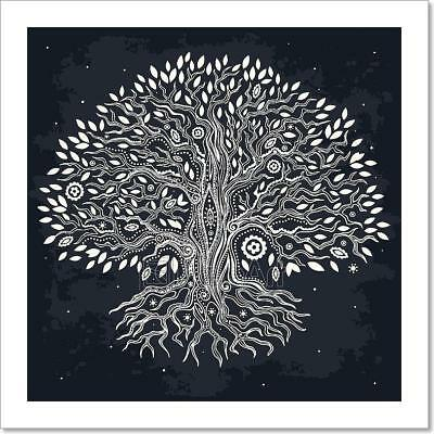 Beautiful Vintage Hand Drawn Tree Of Art Print Home Decor Wall Art Poster - C