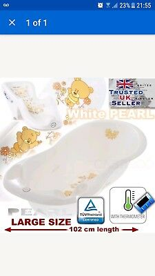 SET LARGE 102cm BABY BATH TUB with therm. drain + SUPPORT SEAT chair WHITE TEDDY