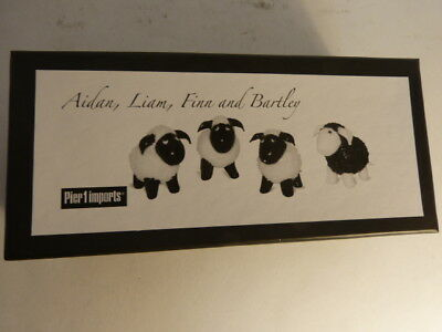 New in Box Set of 4 Glass Sheep  3 White 1 Black Pier 1 Imports Lambs