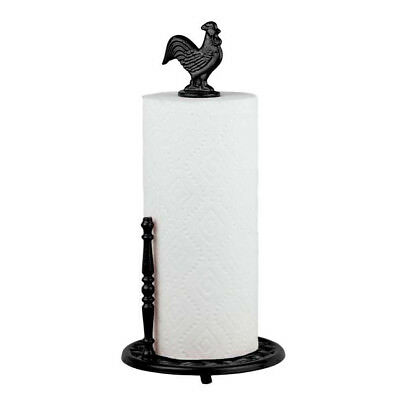 Home Basics Black Cast Iron Rooster Countertop Paper Towel Holder